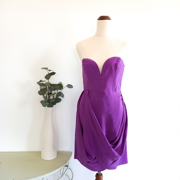 Zimmermann Size 2 Silk Purple Strapless Dress